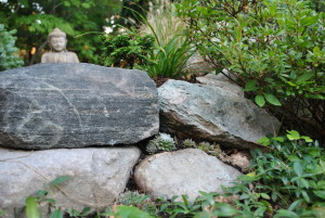 Rock garden built with native field stone harvested from neighboring farm field.